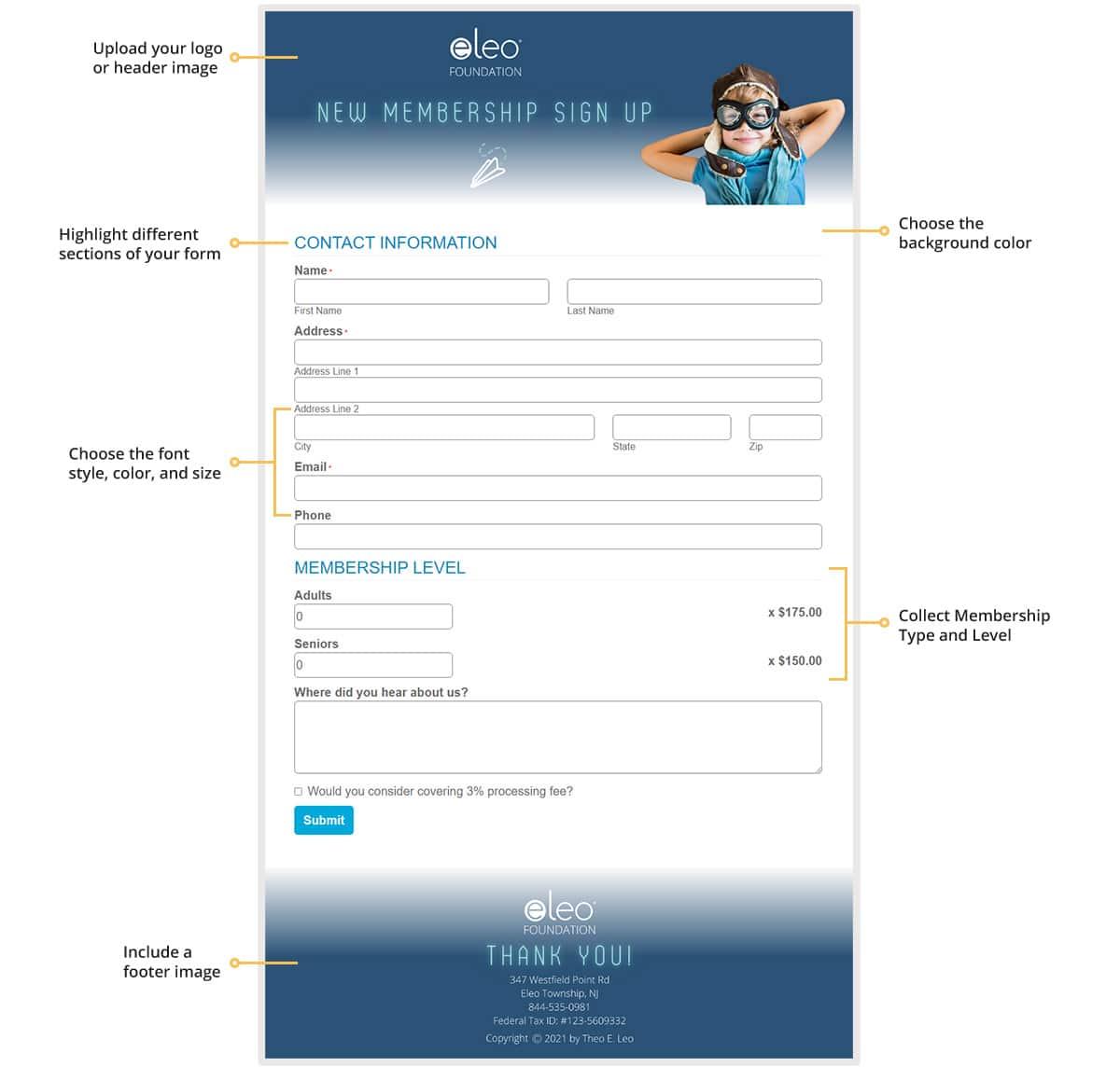 branded membership forms