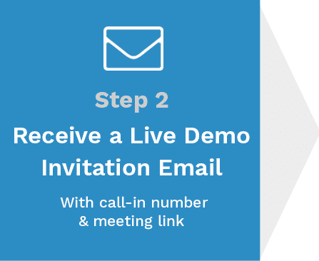 Step 2 - Receive a live demo invitation email with call-in number & meeting link