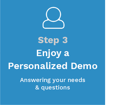 Step 3 - Enjoy a personalized demo answering your needs & questions